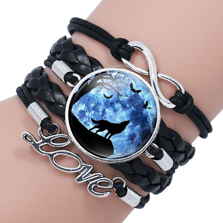 Retro Style Leather Jewelry Boho Glass Cabochon Moon Wolf Pattern Bracelet Beaded Charm Wrap Bangles for Men Women boys gifts 5