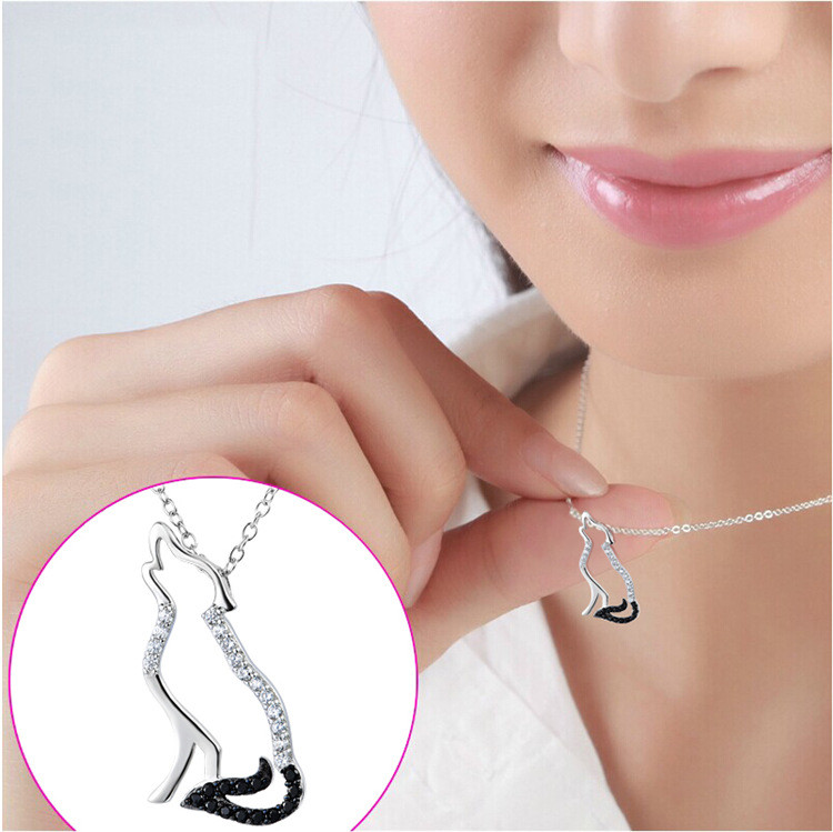 100% Real Pure 925 Sterling Silver Necklace Black White Cubic Zirconia Wolf Necklaces & Pendants Men and Women Jewelry YK5142 17