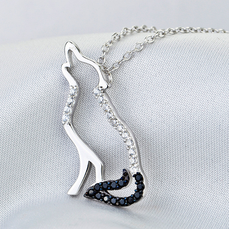 100% Real Pure 925 Sterling Silver Necklace Black White Cubic Zirconia Wolf Necklaces & Pendants Men and Women Jewelry YK5142 20